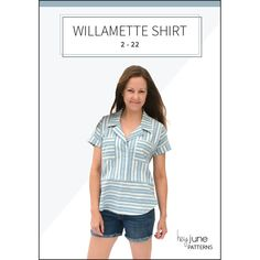 The Willamette Shirt is a casual boxy dolman collared shirt in three views for women in sizes 2 - 22 by Hey June Handmade