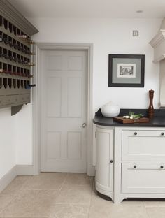 "Above image: handmade kitchens by Chalon in gorgeous pale chalky shades with slate grey accents try Farrow and Ball ""French Grey"" number 18 ..."
