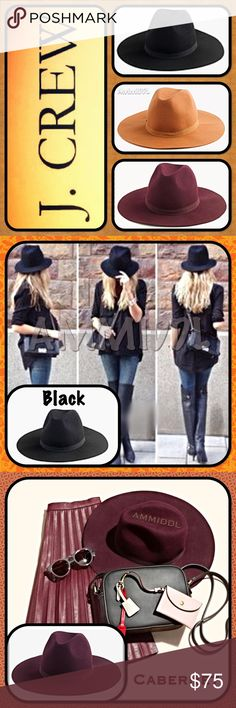 """🆕Wide-Brimmed Italian Wool Hat ✅SEE CLOSET FOR OTHER COLORS (Camel and Cabernet)   Take your look to the next level with this 100% Italian Wool Wide-Brimmed Hat. Perfect, stylish accessory to complete any look! Brim provides protection from sun, wind & snow. Whatever your style, Bohemian, Hipster or just fabulous, this is a must-have for any wardrobe or to just add chic style to your everyday look!    Features 🔹Wool 🔹Spot/Dry Clean 🔹Tear drop top, pinch front crown 🔹1"""" wide grosgrain…"""