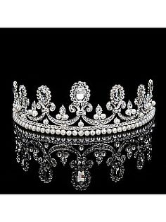 Vintage Bridal Tiara with Shimmering Pearls and Rhinestones in Round Shape - USD $12.99