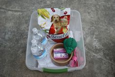 Dog emergency kit: a towel, food, water, and extra food dish, a leash, a toy, and any medicines.  keep kit stored next to my emergency home kit, it is stored in a small bin