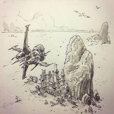 Island #drawing #sketch #sketchbook by ullikummi