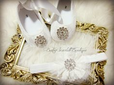 White Lace Baby Girl ShoesSoft Sole Shoes by babyScarlettBoutique, $29.99