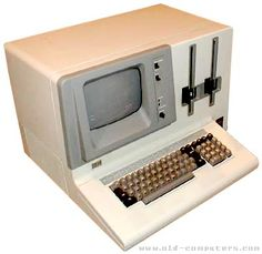 Another image of one of the first desktops. It was very simple, didn't have a mouse, and it didn't have color. To use one of these, you must have been able to program on it.