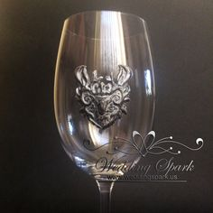 Hand  decorated Baratheon Game of Thrones Wine glass glass silver color. The flute stand at
