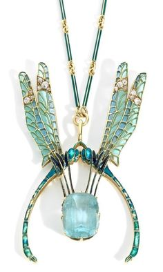 "Aquamarine/diamond, yellow gold/enamel - double-dragonfly pendant/necklace. Created by, famous French jewelry designer, Rene Lalique, (1860-1945).  His designs were also enjoyed in America, by the wealthy ""400"", society mavens, during NYC's Gilded Age era. ~ {cwl} ~~ (image - via:1stdibs) ~~ (tumblr-fleurdulys)"