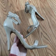 """Stunning nude scrappy sandal Absolutely perfect for spring! These have never been worn. New without tag. (Too big for me as I'm a 6 and these were my moms! Otherwise I'd keep lol) these are super pretty. Ankle strap is very """"in"""". Chic look. 4.5 inch heel. ✨ Anne Michelle Shoes Sandals"""