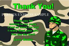 Army military camouflage Birthday thank you notes / cards personalized