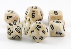 Marble Dice (Ivory) RPG Role Playing Game Dice Set