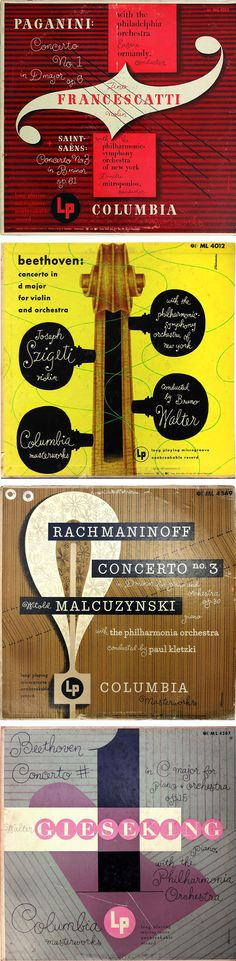 """Alex Steinweiss record album designs: Paganini 1950; Beethoven 1956; Rachmaninoff 1950; Beethoven/Gieseking 1950. Widely regarded as the inventor of the modern graphic record album sleeve, Steinweiss's designs can be identified by his signature handwritten typeface, known colloquially as the """"Steinweiss Scrawl."""" He was active in design until his death in 2011."""