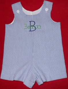 Boy's Monogram Seersucker Jon Jon Shortall by LadybugandLizard, $35.00