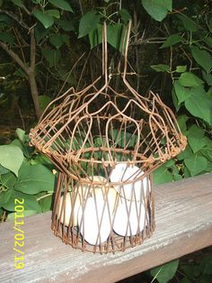 Antique Vintage Rustic Folding Wire Metal EGG Basket w/ 7 Wooden Eggs~Primitive   $26.99