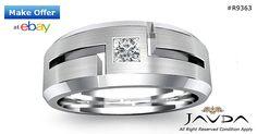 Solitaire Diamond Mens Half Wedding Band 14k White Gold Princess Cut Ring 0.15Ct
