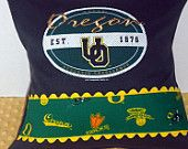 University of Oregon Upcycled Pillow, U of O Duck Pillow, 14x14, Yellow and Green