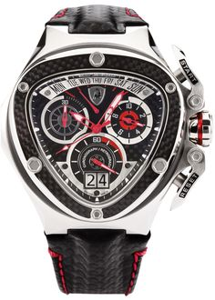 Tonino Lamborghini Spyder 3000 Chronograph Black Dial Leather Men's Watch 3020