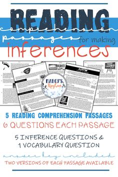 Making Inferences and predictions can be hard for readers. Included in this product is 5 reading comprehension passages that are focused on inferring within the text. This comprehension packet is a page long containing 6 questions each passage. The teacher has the option to use multiple choice or short answer. Answer key is included. Teaching Reading, Teaching Ideas, Teaching Resources, Fluency Practice, Reading Comprehension Strategies, Making Inferences, 5th Grade Reading, Teacher Inspiration, Multiple Choice