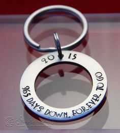 First Anniversary Gift for men, Anniversary Gifts for Men, Anniversary Gift for Husband, One Year Anniversary, Hand Stamped Keychain