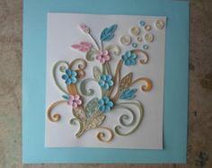 Blue pink flowers wall art Paper filigree Paper quilling art Original artwork Cottage chic wall decor Shabby wall art