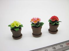 Dollhouse miniatures primule in aged terracotta pot whit saucer. €9,00, via Etsy.