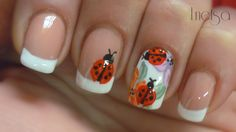 This is an easy design. You can make the french tips as you like them, and add a couple of ladybugs, or make some accent nails as I did. Gel Manicure Nails, My Nails, Ladybug Nail Art, Flower Nail Art, Art Flowers, One Stroke Nails, Pretty Nail Art, French Tip Nails, Nail Art Hacks