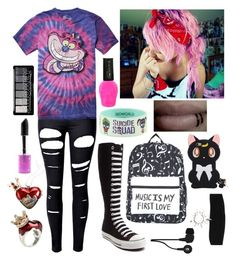 """""""Scene Hair #50"""" by madame-taylor ❤ liked on Polyvore featuring WithChic, Disney, Converse, Skullcandy and Lime Crime"""