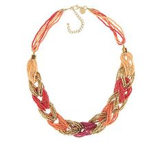 Color enhancing. With beautiful, alternating tonal hues and a braided, seed bead design, this necklace is the perfect mix of color, texture, and style. QVC.com