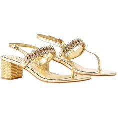 Lilly Pulitzer Kelsey Embellished Leather Sandal ($178) ❤ liked on Polyvore featuring shoes, sandals, gold metallic, leather footwear, mid heel sandals, lilly pulitzer shoes, embellished leather sandals and mid-heel sandals