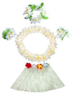 white grass skirt with flowers bracelets headband necklace Hula set >>> To view further for this item, visit the image link. Horse Costumes, Dress Up Costumes, Boy Costumes, Halloween Costumes, Grass Skirt, Tinker Bell Costume, Flower Bracelet, Flower Necklace, Costumes For Teens