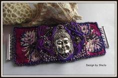 Beaded Story Cuff – Purple Buddha