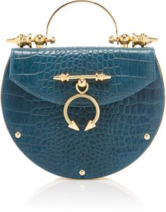 Shop Oak On Brass Bag. This Okhtein bag is rendered in crocodile embossed leather and features an oval face and a round top handle. Best Handbags, Fashion Handbags, Purses And Handbags, Fashion Bags, Best Purses, Unique Purses, Unique Bags, Converse, Vans