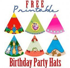 These free printable birthday party hats cover a range of fun themes, like jungle safari, circus clowns, fairy princess, ladybugs, western and two generic hats with no theme.
