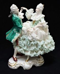 Irish Dresden Lace Porcelain Figurine Figural Group Vienna Waltz Emerald Coll.