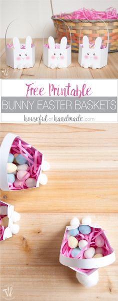 These boxes are the cutest! Celebrate Easter by filing these free printable bunny Easter baskets with your favorite treat. They are perfect for table settings and gifts. Housefulofhandmade.com | Easter Table Setting Ideas | Easter Gifts | Printable Easter Ideas | Free Printable Basket | Easter Treat Boxes