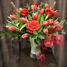 Букеты Розы Тюльпаны Розовый Лента ленточка Цветы