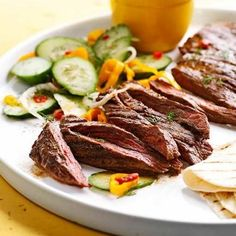 Spicy Skirt Steak with Avocado Dipping Sauce: Cool and creamy avocado tames the heat of the chipotle chili rub.