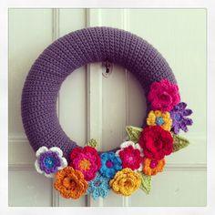 Flower wreath crochet, krans bloemen gehaakt