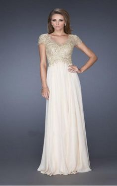 Find the latest trends in Champagne A-line V-neck Floor-length Dress-favodresses.com with a large selection of unique formal and evening bridesmaid dresses at halodresses.