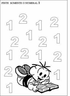 O numero 1 Numbers Preschool, Math Numbers, Free Preschool, Nursery Worksheets, Preschool Worksheets, Math For Kids, Diy For Kids, Home Schooling, Kindergarten Math