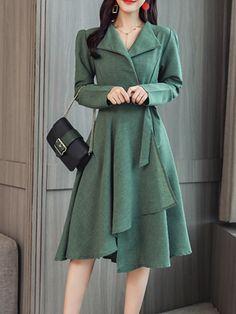 Fold Over Collar Asymmetric Hem Plain Skater Dress Hijab Fashion Inspiration, Style Inspiration, 15 Dresses, Dresses Online, 1950s Look, Skater Dress, Bodycon Dress, Dress Silhouette, Western Dresses