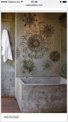Badezimmer Tapete, Upcycling Möbel, Wandmalerei, Wanddekoration, Innenraum,  Tapeten Ideen, Bad Einrichten, Wandgestaltung, Fliesen, Badtapeten,  Wandtapete, ...
