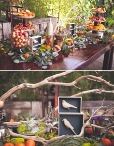 woodland theme party - love all the colors the fruit adds