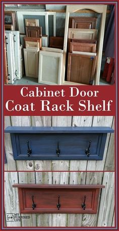 Fun ways to repurpose cabinet doors by adding scrap wood and some coat hooks to make a rack for scarves, hats, jewelry and more.