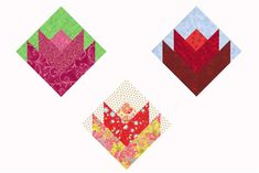 My Lovely Little Tulips quilt block pattern explains how easy it is to create a bouquet of quilt blocks that look good on point or in a straight setting.: Make Square Tulip Quilt BlocksSew the Lovely Little Tulips Quilt Blocks Hexagon Quilt Pattern, Hand Quilting Patterns, Jelly Roll Quilt Patterns, Machine Quilting Designs, Pattern Blocks, Quilting Projects, Hexagon Quilting, Patchwork Patterns, Quilting Ideas