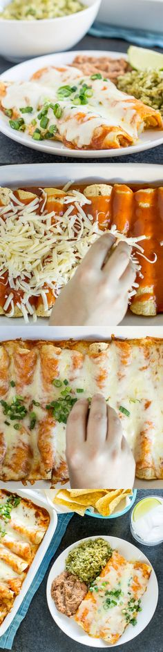 Creamy Chicken Enchiladas so good, you don't need to go out for Mexican food anymore. Prepare to swoon! Creamy Chicken Enchiladas so good, you don't need to go out for Mexican food anymore. Prepare to swoon! I Love Food, Good Food, Yummy Food, Mexican Dishes, Mexican Food Recipes, Spanish Food Recipes, Vegetarian Mexican, Mexican Meals, Vegetarian Recipes