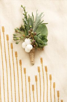 #snowberry boutonniere for groom ... Wedding ideas for brides, grooms, parents & planners ... https://itunes.apple.com/us/app/the-gold-wedding-planner/id498112599?ls=1=8 … plus how to organise an entire wedding ♥ The Gold Wedding Planner iPhone App ♥