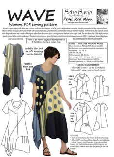 Original lagenlook style dress designed by Pearl Red Moon. Wave can be interpreted by the sewist in so many ways.it can be made all in one colour or with various panels picked out in solid colours or prints. The instructions include step by step tutori Pdf Sewing Patterns, Clothing Patterns, Dress Patterns, Sewing Clothes, Diy Clothes, Clothes For Women, Dress Sewing, Style Clothes, Types Of Textiles
