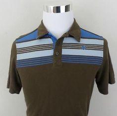 c80b0a4f Vintage Mens Striped 80's Hang Ten Skate Skater Surf Retro Golf Polo Shirt  M MD Vintage