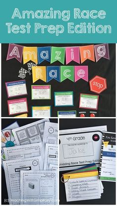 Take the boredom out of test prep with the Amazing Race Test Prep Edition for math.  Everything you need at your fingertips including a diagnostic assessment, practice pages, games, multiple choice test like questions, performance tasks, motivation, and much more!