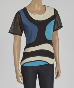 This Leopards & Roses Blue Color Block Scoop Neck Tee by Leopards & Roses is perfect! #zulilyfinds
