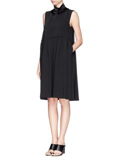 ELLERY 'Splash' satin collar pleat dress
